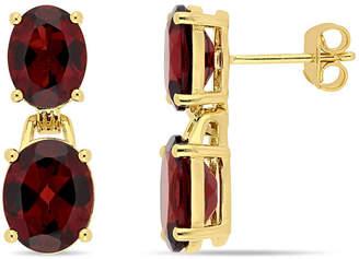 Macy's Garnet (10 ct. t.w.) Dangle Earrings in 18k Yellow Gold over Sterling Silver