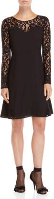 Sonia Rykiel Sonia By Lace Insert Fit & Flare Dress