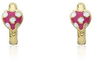 """Little Miss Twin Stars Girls'""""I Love My Jewels"""" 14k Gold-Plated Enamel Polka Dot Heart Baby Huggy Hoop Earrings"""