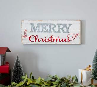Pottery Barn Galvanized Metal & Wood Merry Christmas Sign