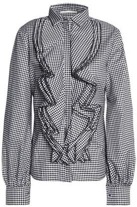 Antonio Berardi Ruffled Gingham Cotton Shirt