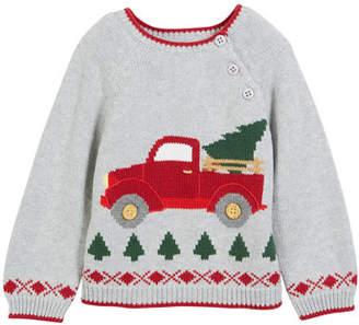 Zubels Kids' Antique Truck Knit Christmas Sweater, Size 12M-7