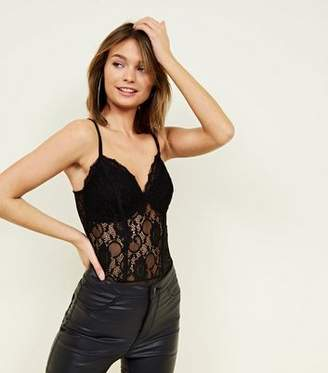 New Look Black Sweetheart Neck Lace Party Bodysuit