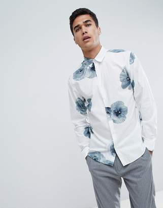 Selected Shirt With Large Floral Print In Slim Fit