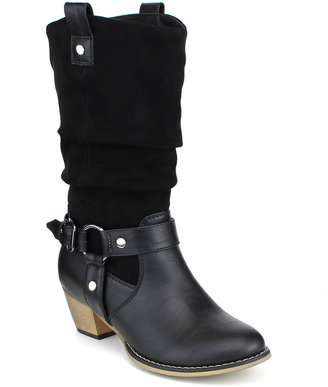 Black Buckle-Embellished Wild Boot $55 thestylecure.com