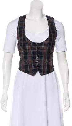 Elizabeth and James Plaid Button-Up Vest