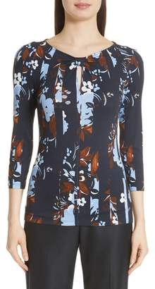 St. John Painted Floral Print Jersey Top