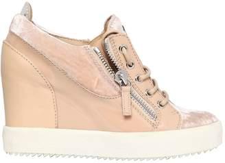 Giuseppe Zanotti Design 90mm Velvet & Patent Wedge Sneakers