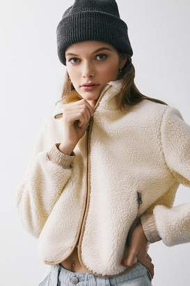Urban Outfitters Scout Sherpa Zip-Front Cropped Jacket