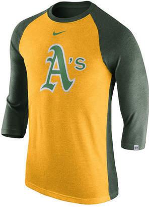 Nike Men's Oakland Athletics Tri-Blend Three-Quarter Raglan T-shirt