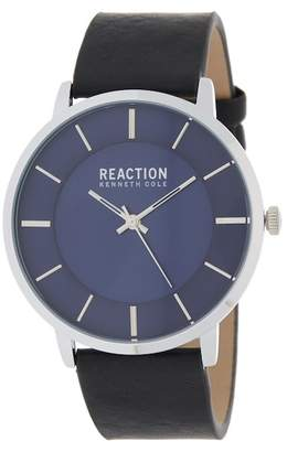 Kenneth Cole Reaction Men's 3 Hand Leather Strap Watch, 47mm