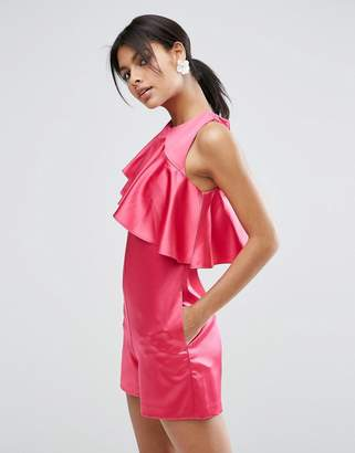 Asos DESIGN Premium Romper with Asymmetric Ruffle