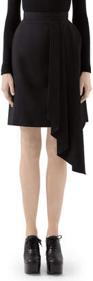 Gucci Asymmetric Draped Wool Skirt