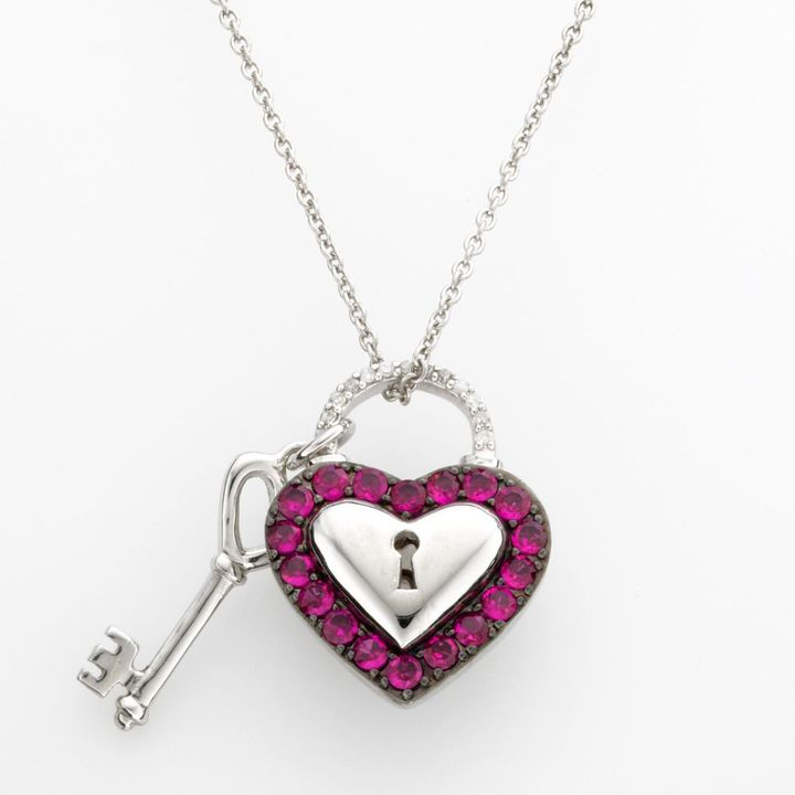 Sterling silver lab-created ruby & diamond accent heart lock & key pendant