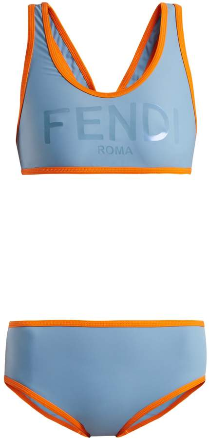 FENDI Logo-print racer-back performance bikini