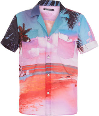 Balmain Beach Print Cotton Shirt