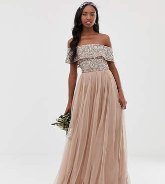 Bardot Maya Tall Bridesmaid maxi tulle dress with tonal delicate sequins in taupe blush