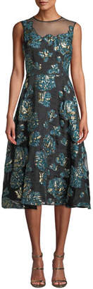 Rickie Freeman For Teri Jon Floral Jacquard Dress w/ Mesh Yoke