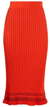 Altuzarra Gwendolyn Ribbed Knit Midi Skirt - Womens - Orange