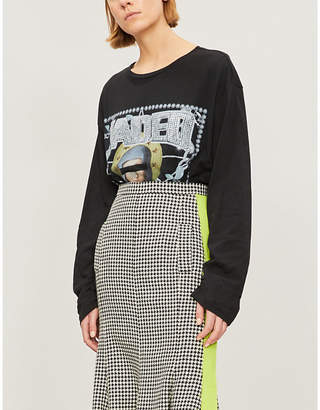 Jaded London Embellished printed cotton-jersey top