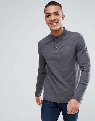 Asos Design Long Sleeve Pique Polo With Button Down Collar In Grey