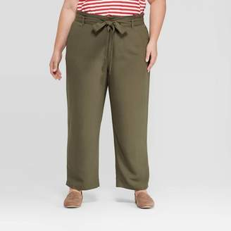Ava & Viv Women's Plus Size Paper Bag Trouser Pants