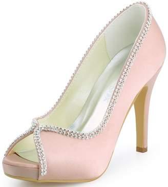 ElegantPark EP11183-IP Women Peep Toe Platform Satin Rhinestones Prom High Heel Evening Party Shoes US 5
