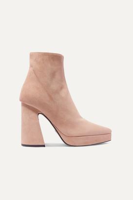 Proenza Schouler Suede Platform Ankle Boots - Beige