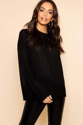 boohoo Light Weight Crew Neck Jumper With Rib Cuff