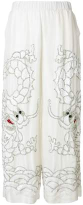 P.A.R.O.S.H. sequin dragon embroidered wide leg trousers