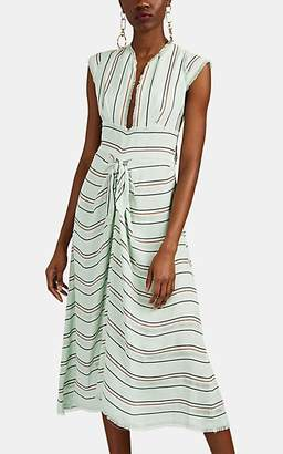 Proenza Schouler Women's Striped Textured-Gauze Midi-Dress - Mint