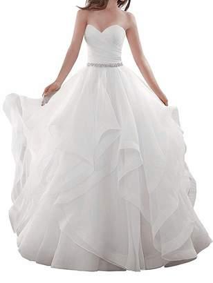qibinfs Women's Ruffles Wedding Dress Bride Dress Ivory