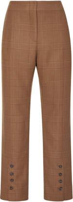 Jonathan Simkhai Cropped Checked Wool Slim-Leg Pants