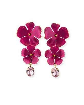 Jennifer Behr Jacinta Double-Flower & Crystal Drop Earrings