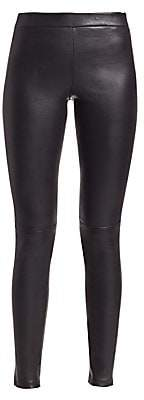 Theory Women's Adbelle Leather Leggings - Size 0