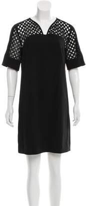 Lela Rose Guipure-Lace Trimmed Mini Dress