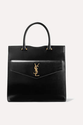 Saint Laurent Cabas Uptown Glossed-leather Tote - Black