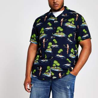 River Island Mens Only & Sons Big and Tall Navy Hawaiian shirt