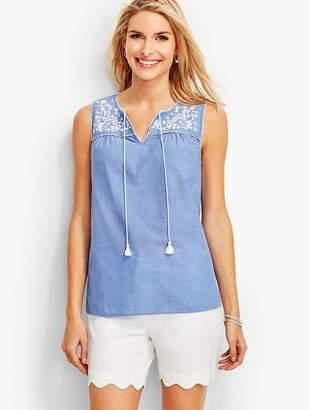 Talbots Tassel-Tie Chambray Popover Shirt
