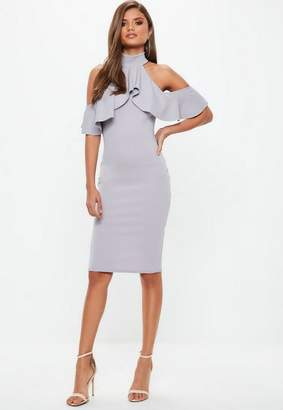 Missguided Gray High Neck Frill Cold Shoulder Midi Dress