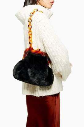 Topshop Faux Fur Frame Tortoiseshell Shoulder Bag