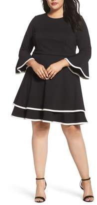 Eliza J Bell Sleeve Contrast Trim Fit & Flare Dress