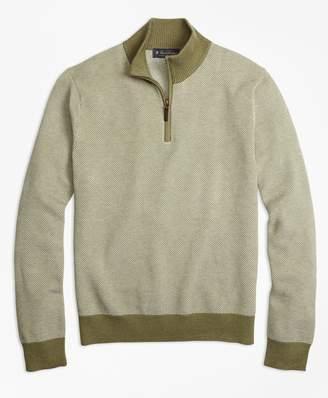 Brooks Brothers Supima Cotton-Cashmere Textured Half-Zip Sweater