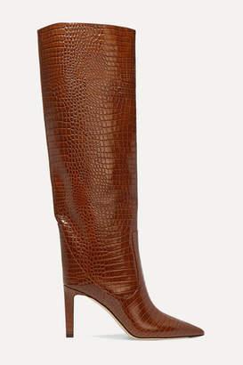 Jimmy Choo Mavis 85 Croc-effect Leather Knee Boots - Tan