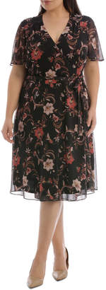 Jacobian Floral Print Wrap Dress