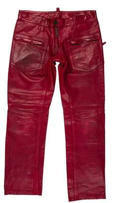 DSQUARED2 Leather Moto Pants