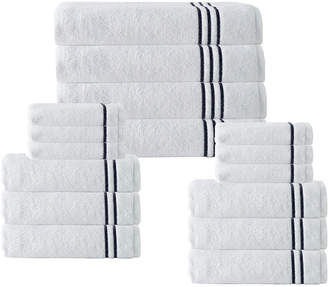 Enchante Set Of 16 Broderie Navy Stripe Towel Set
