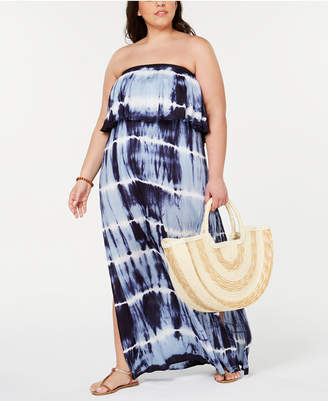 Raviya Plus Size Tie-Dyed Strapless Cover-Up Dress Women Swimsuit