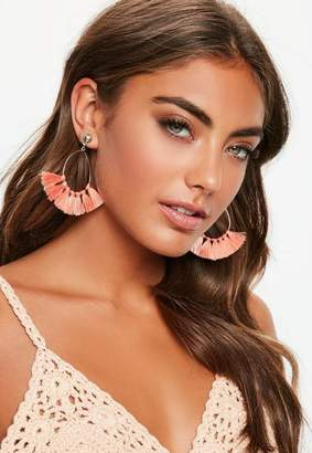 Missguided Silver Look Hoops With Peach Fabric Tassel