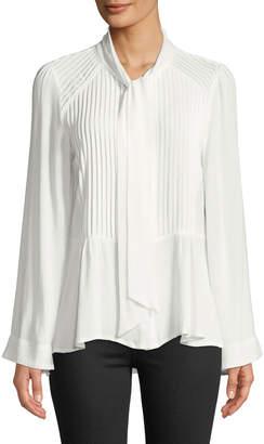 Lumie Pleated Tie-Neck Flare-Sleeve Blouse